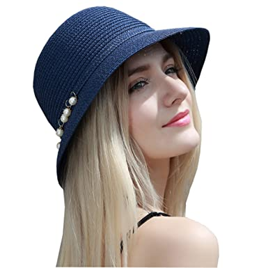 9ae14d5de61 Kekolin Womens Floppy Summer Sun Beach Straw Hats Accessories Wide Brim  Foldable at Amazon Women s Clothing store