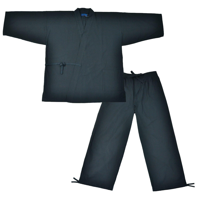 Edoten Men's Japan Kimono Ninjya Cotton100% Samue Nevy XXL