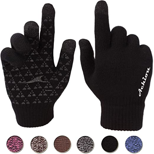 Achiou Thermal Lined Touchscreen Knit Gloves