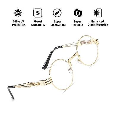 3c239102c9 ATNKE John Lennon Glasses Quavo Steampunk Round Sunglasses Circle Metal  Frame Oversized Retro Vintage Spring Leg Eyewear for Men and Women UV400  Protection ...