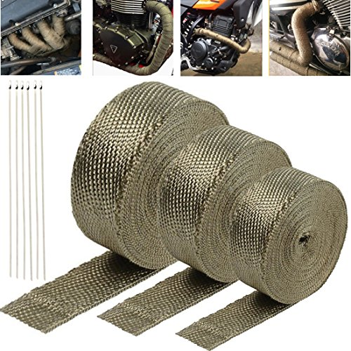 10m5cm Titanium Heat Wrap - Exhaust Heat Shield Wrap Roll Basalt Fibre for Motorcycle Vehicle Boats Heat Proof Tape + 6pcs Stainless Cable Ties