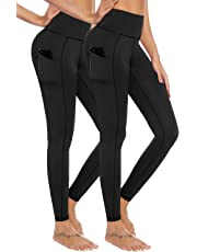 AUU High Waist Yoga Pants with Pockets, Tummy Control, Workout Pants for Women 4 Way Stretch Yoga Leggings