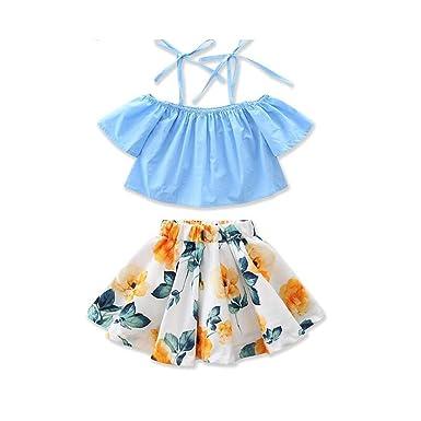 4cbf7025d77c1f MOLYHUA Baby Girls Outfits Blue, 2Pcs Off-Shoulder Tops + Floral Print  Skirt Set