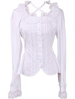 6d14bd060fe289 Antaina Weiß Baumwolle Spitze Rüsche Süß Sexy Viktorianisch Lolita Hemd  Bluse,MEHRWEG