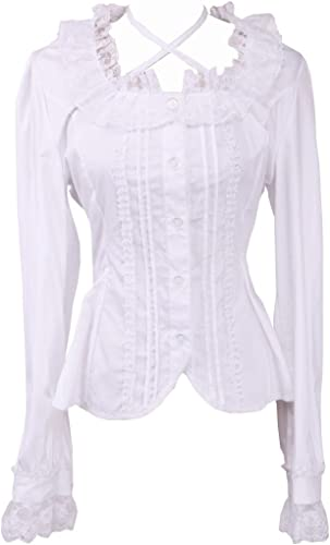 an*tai*na* Blanca Algodón Encaje Volantes Kawaii Sexy Victoriana Lolita Camisa Blusa de Mujer: Amazon.es: Ropa y accesorios
