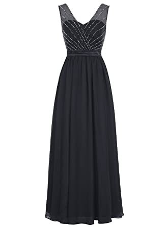 Bbonlinedress Long Chiffon V-Neck Prom Dresses Beaded Sequins A-Line Evening Party Dresses