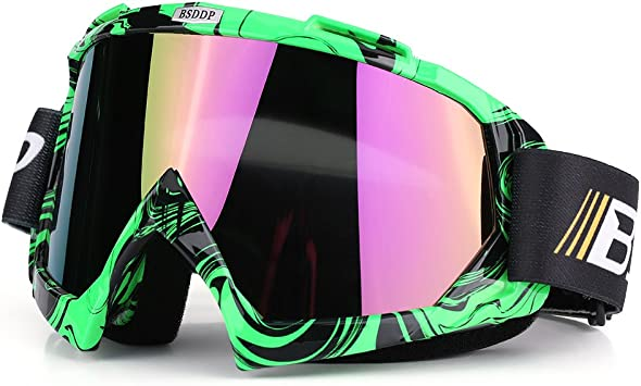 Qii Lu Motorrad Motocross Off Road Dirt Bike Racing Goggles Brille Augen Schutz Green Colorful Auto