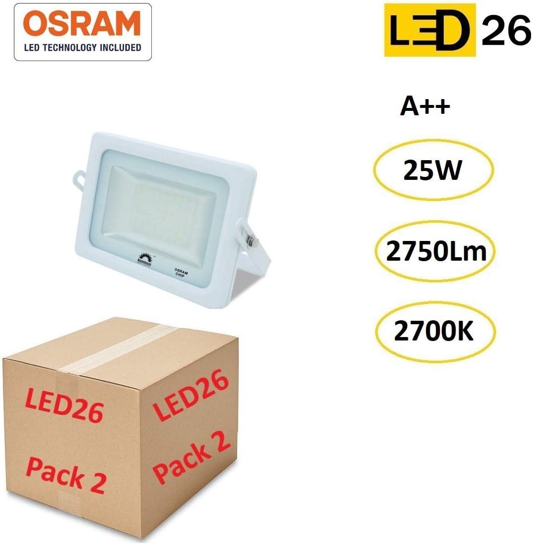 LED26® Exterior Floodlight Led PACK DE 2 Focos 25w chip LED OSRAM Proyector Led para Exterior Iluminación Decoración 2700k IP65 Blanco [Clase de eficiencia energética A++]: Amazon.es: Iluminación