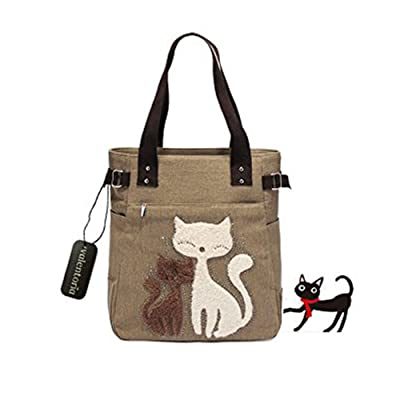 Back to School Deals 2017--Valentoria® Cute Cat Design Multifunction Women's Canvas Zipper Closure Handbag