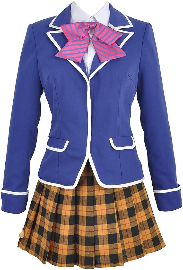 Cos-Love Food Wars Nakiri Erina Cosplay Japanese School Girl Uniform Jacket Shirt Pleated Skirt Costume with Socks