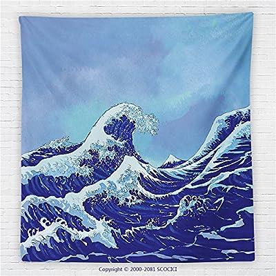 59 x 59 Inches The Great Waves Of Kanagawa Fleece Throw Blanket Big Tsunami Ocean Decor With Blue Sky Blanket
