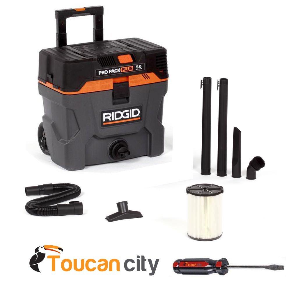 RIDGID WD1022, 10 Gal. 5.0-Peak HP Pro Pack Plus Wet Dry Vac Vacuum + Toucan City Screwdriver by Toucan City
