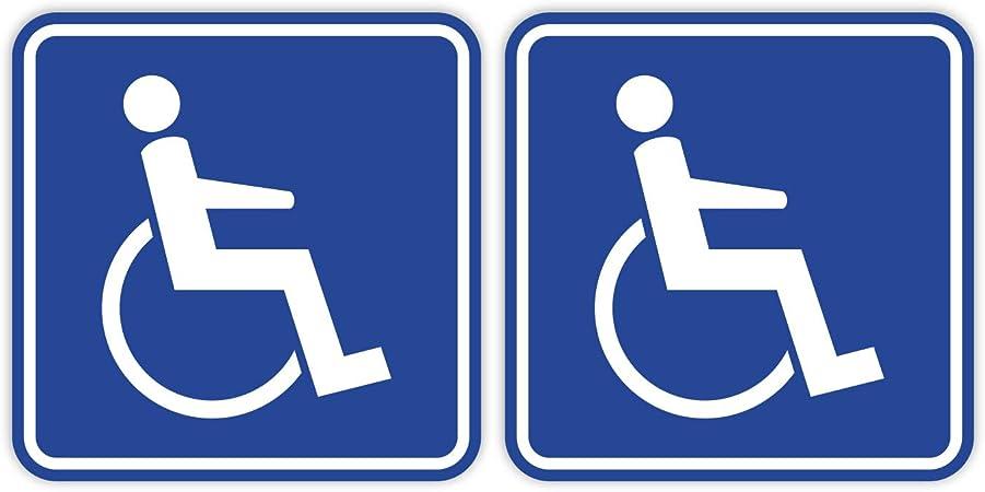Easydruck24de 2er Set Rollstuhl Aufkleber I 10 X 10 Cm Innen Klebend Rollstuhl Fahrer I Aufkleber Für Transporter Fahrdienst Betreuer I Hin 465 Auto