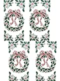 Set of 4 Christmas Wreath / Holly Wall Mural Stickers