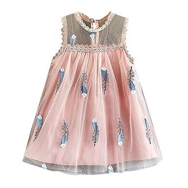 Livoral - Vestido de Princesa para niña, sin Mangas, con Plumas ...