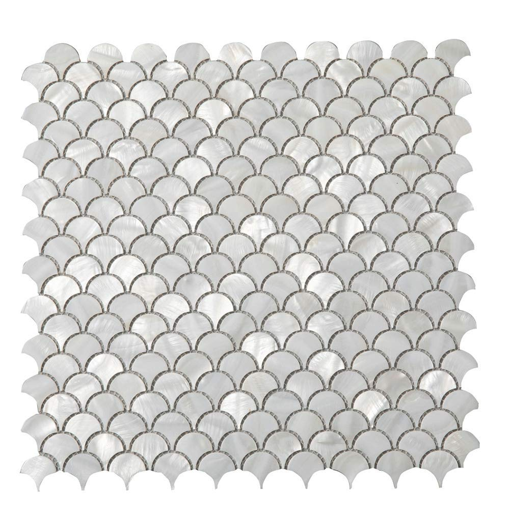 Diflart Oyster Mother of Pearl Shell Mosaic Tile, 10 Sheets/Box (Fan-Shaped, Pearl Shell) by Diflart