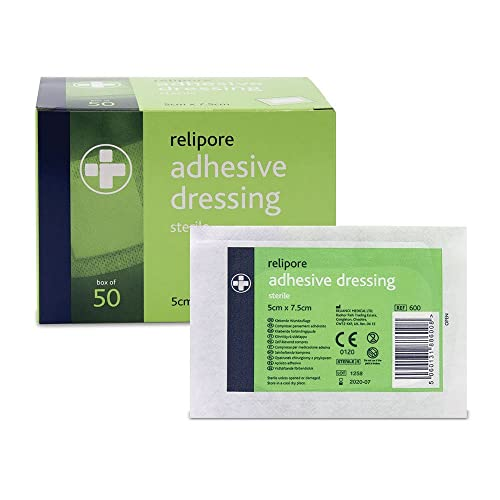 Reliance Medical Sterile Relipore Adhesive Dressing Pads, 7.5 cm Length x 5 cm Width Box of 50