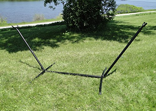 Universal Hammock Stand by Hammock Universe - 9.5 ft Heavy Duty Steel Stand for Non Spreader Bar Hammocks including Brazilian, Mayan & Nicaraguan - Great for Outdoors, Patio, Backyard (Sunbrella Arch)