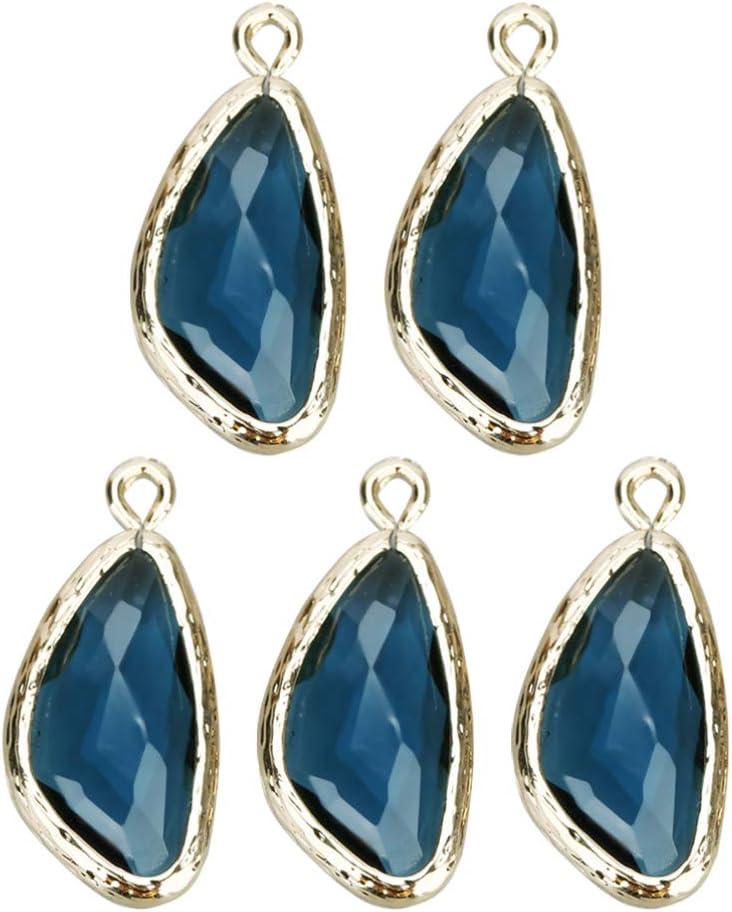 Exceart - 5 colgantes de cristal con forma de gotas de agua, color negro 2.3X1.1CM azul marino