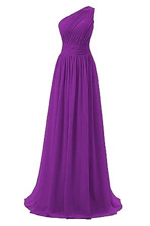 70c9d8f81ab Dressever Women s Long One Shoulder Bridesmaid Chiffon Prom Evening Dress  Purple ...