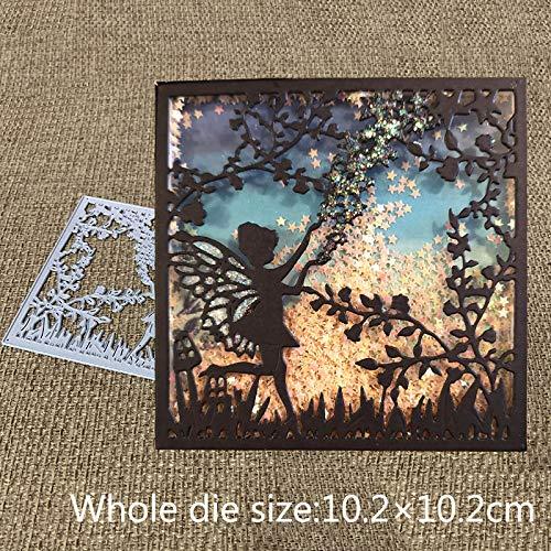 New Design Craft Square Fairy Jungle Grass Background Cutting Dies,Letmefun Metal Cutting Dies Stencils Scrapbooking Album Paper Card Craft Embossing Die Cuts (Jungle Scrapbooking)