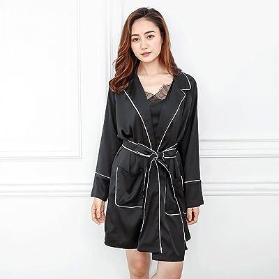 ZLR Printemps Automne Saison Lady Ice Soie Sommeil Robe Cute Long-Sleeve Home Vêtements Peignoir