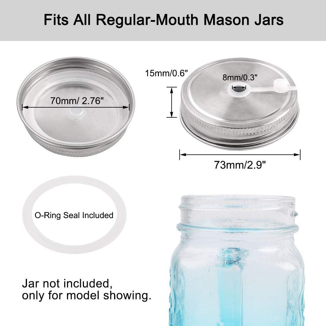 4 tapas de tarro de acero inoxidable de 73 mm con tapa de popote para bebidas y almacenamiento de alimentos