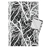 Roostery Tree Trees Branches Wood Black White B&W Tea Towels The Tree Lace ~ White and by Peacoquettedesigns Set of 2 Linen Cotton Tea Towels