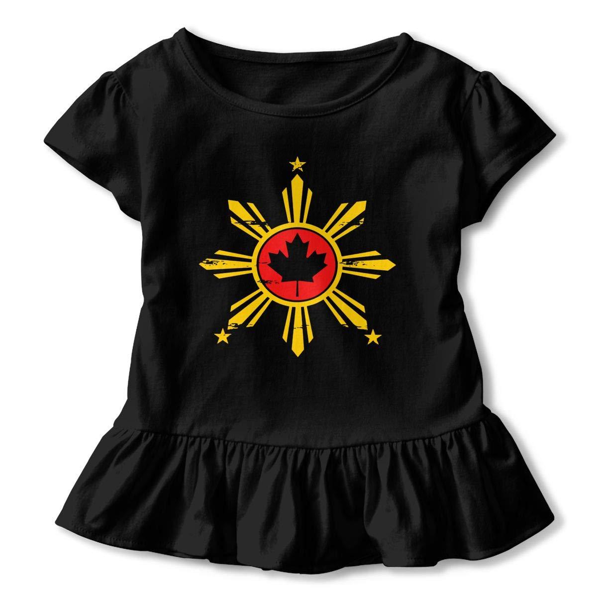 Kcloer24 Unisex Toddler Filipino Canadian Flag Organic Short Sleeve Ruffles Tee T-Shirt for 2-6 Years Old