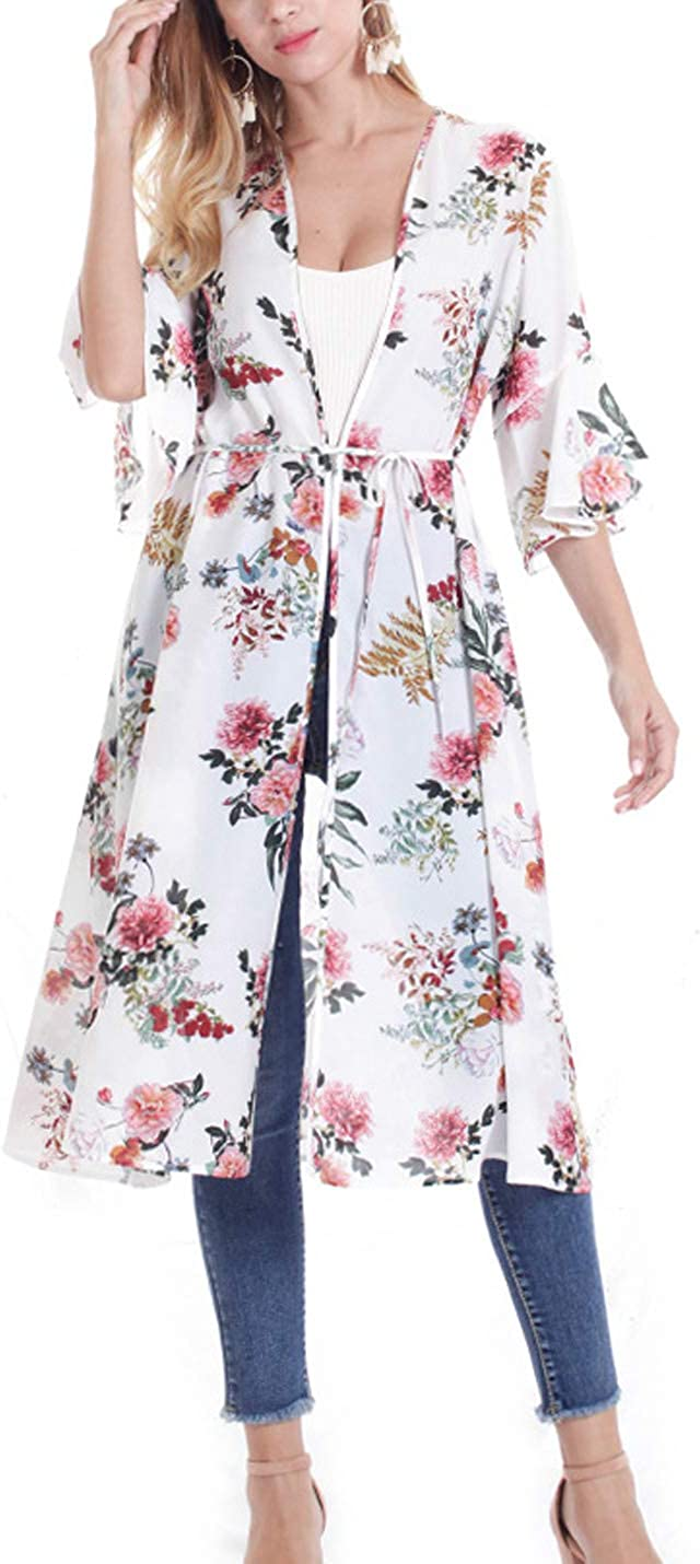 Gihuo Womens Floral Open Front Chiffon Long Kimono Cardigan Cover Up
