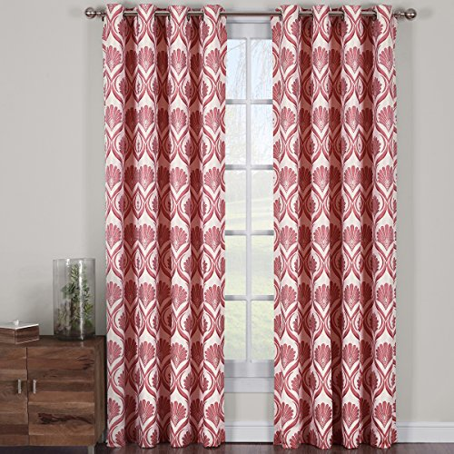 Jacqueline Poppy, Top Grommet Jacquard Window Curtain Panel, Set of 2 Panels, 108x120 Inches Pair, by Royal Hotel