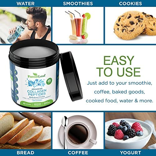 Advanced Hydrolyzed Collagen Peptides - Unflavored Protein Powder - Mixes Into Drinks and Food - Pasture Raised, Grass Fed - for Paleo and Keto; Joints and Bones - 41 Servings Collegen 5