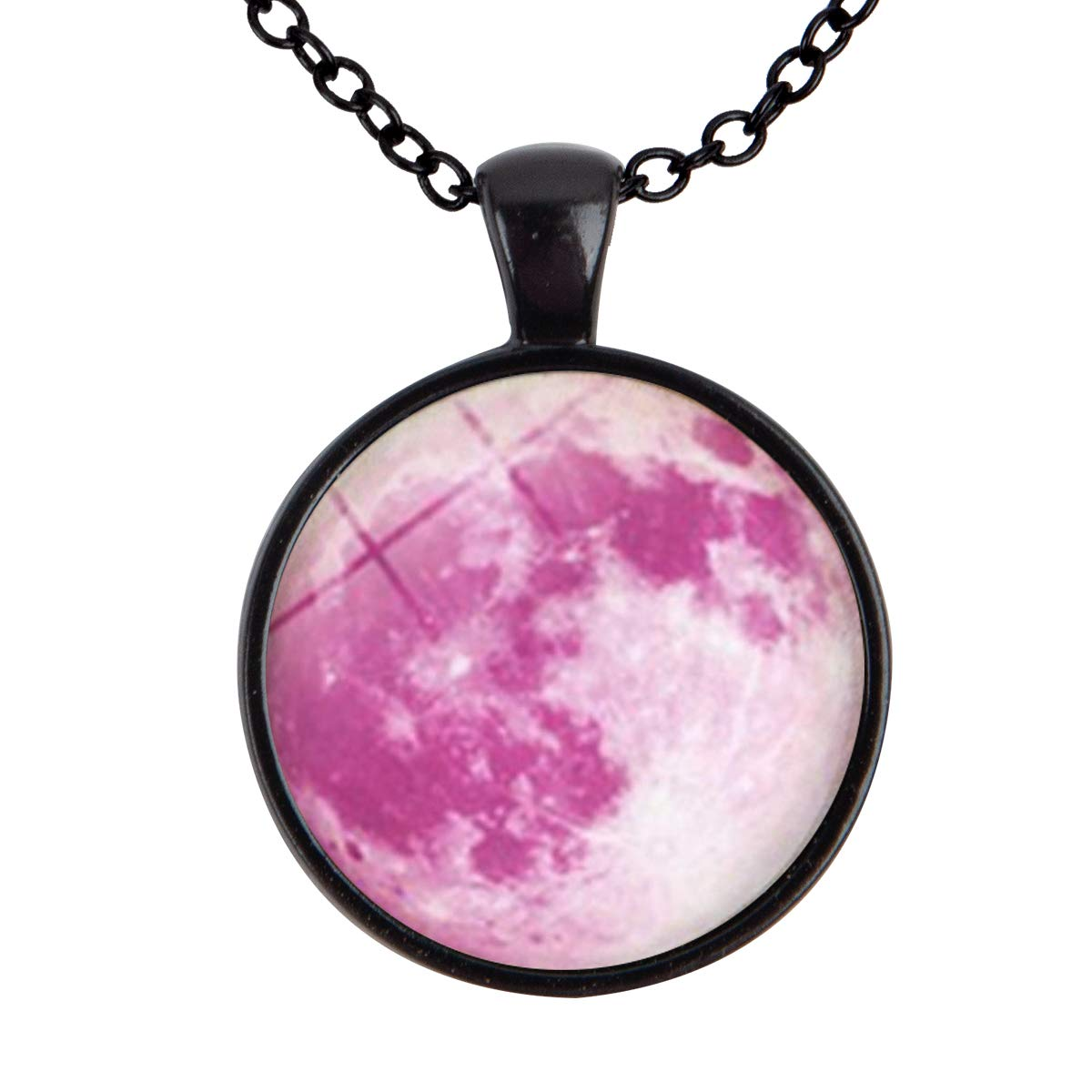 Lightrain Galaxy Planet Pink Moon Photo Pendant Necklace Vintage Bronze Chain Statement Necklace Handmade Jewelry Gifts