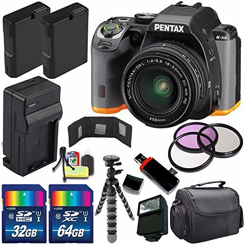 Pentax K-S2 DSLR Camera with 18-50mm Lens (Black/Orange) + Replacement Battery + External Charger + 32GB Card + 64GB Card + Flash + 58mm 3 Piece Filter Kit + Deluxe Accessory Kit Bundle (Kit Pentax Charger)