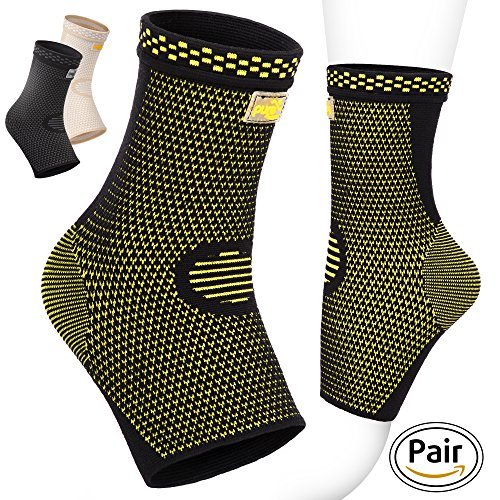 PURE SUPPORT Ankle Brace Sleeves with Best Compression Effective Foot Pain Relief from Heel Spurs & Plantar Fasciitis  One Pair Socks for Womens Men and Kids Comfortable Fit  Highly Breathable M (Ankle Support Hockey)