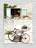 Ambesonne Bicycle Tapestry, European French Mediterranean Rural Stone House with Bike Countryside Provence Day Photo, Wall Hanging for Bedroom Living Room Dorm, 40 W X 60 L Inches, Multi