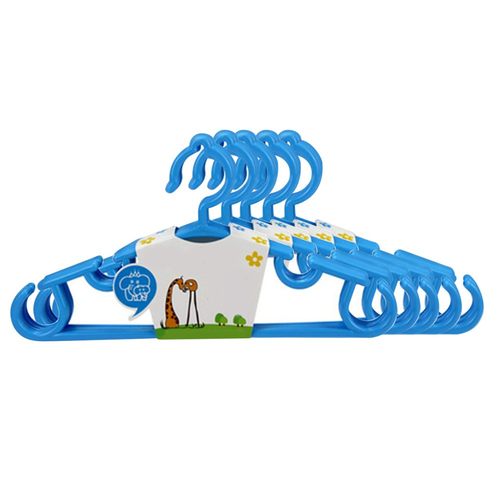 5Pcs Kids Clothes Hangers Baby Trouser Coat Bar Drying Rack Plastic Hangers - Blue GlobalDeal