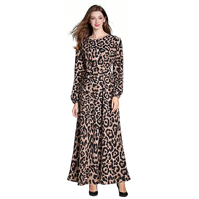 c36edf81833a0c Fanteecy Leopard Print Maxi Dress Women Fashion Kaftan Party Dress Elegant  Long Sleeve Caftan Evening Gowns