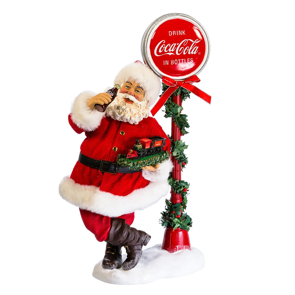 Kurt Adler 14'' Santa with LED Light-Up Coke Sign