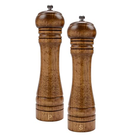 Haomacro Salt And Pepper Grinder Set Wood Pepper Mills Shaker With Ceramic Core 8 Inches Imperial Pack Of 2