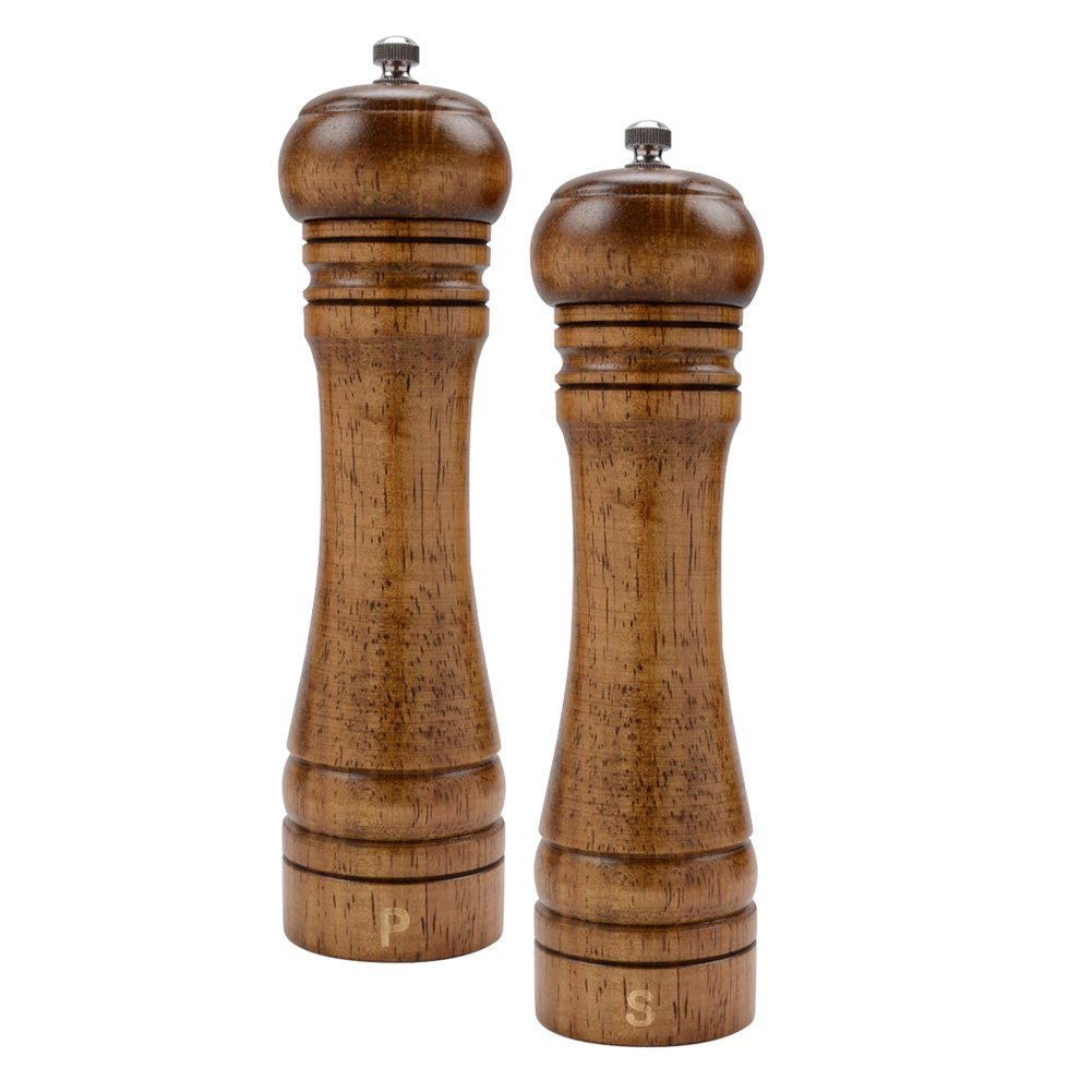 Haomacro Salt and Pepper Grinder Set, Wood Pepper Mills, Shaker with Ceramic Core- 8 Inches Imperial -Pack of 2