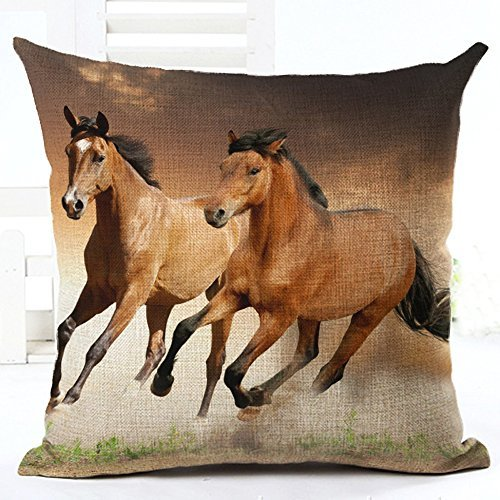 (Oil Painting 2 coffee horses Hand Painted Throw Pillow Case Cotton Blend Linen Cushion Cover Sofa Decorative Square 18 Inches(2))