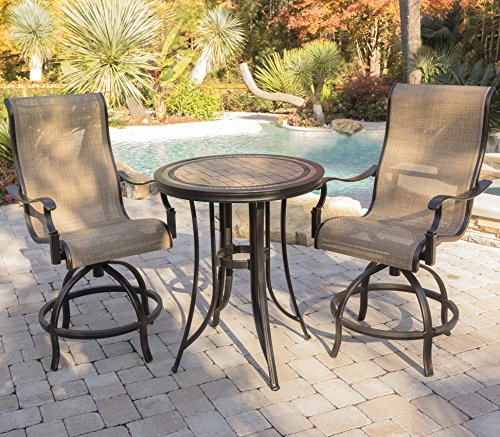 Hanover MONDN3PC-BR Monaco 3-Piece High-Dining Set Outdoor Furniture, Tan/Bronze