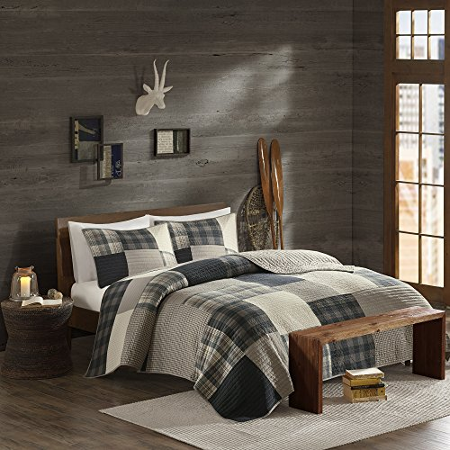 Woolrich Winter Hills King/Cal King Size Quilt Bedding Set - Grey Tan, Plaid – 3 Piece Bedding Quilt Coverlets – Cotton Bed Quilts Quilted Coverlet