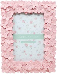 Laura Ashley 4x6 Pink Flower Textured Hand-Crafted Resin Picture Frame with Easel & Hook for Tabletop & Wall Display, Decorative Floral Design Home Décor, Photo Gallery, Art, More (4x6, Pink)