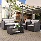 Haplife 4-Pieces Rattan Patio Furniture Set Outdoor Conversation Set Sectional Garden Sofa All Weather Wicker Chair Loveseat with Cushions Tempered Class Tabletop