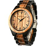 Wooden Men Watches, shifenmei Natural Handmade Wood Watch Analog Japanese Quartz Movement Wood Wrist Watch for Mens with Exqu