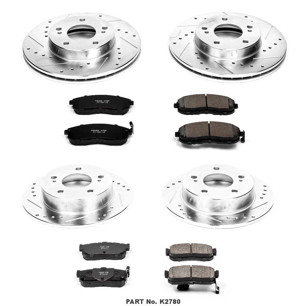 Power Stop K2780 Front /& Rear Brake Kit with Drilled//Slotted Brake Rotors and Z23 Evolution Ceramic Brake Pads