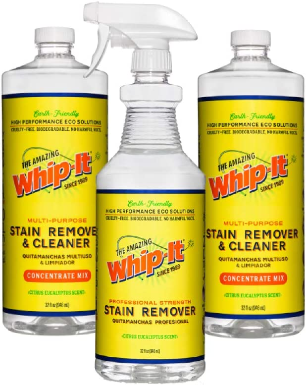 Whip-It Stain Remover and Concentrate Plus Kit, 2-32oz Concentrates, 1-32 Pro Mix Ready to Go Stain Remover