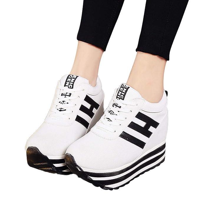 be3e4274 ❤️Zapatos Deportivos de Mujer de Fondo Grueso, Zapatos Deportivos de Lona  de Moda para Mujeres Ocasionales con Cordones Aumentar en Zapatos Casuales  Otoño ...